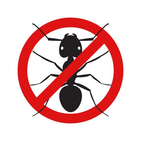Anti no ant insect symbol illustration