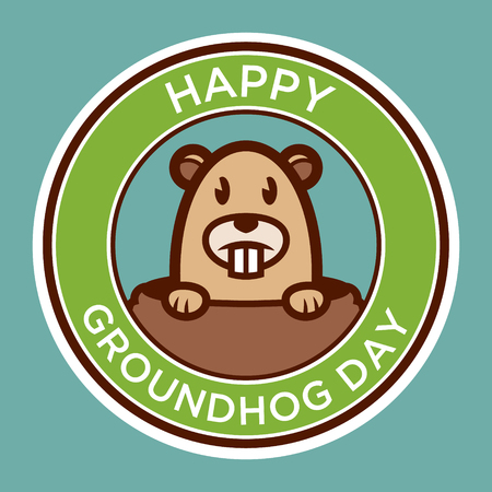 Happy groundhog day badge illustration