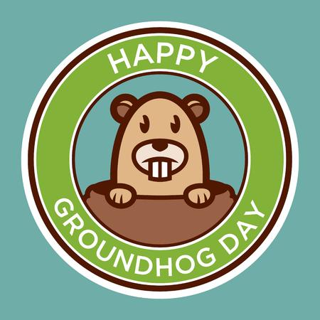 Happy groundhog day badge illustration