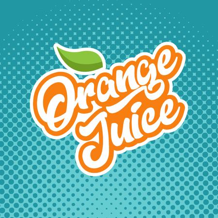 Orange juice calligraphy emblem Illustration