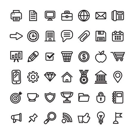 Office business and finance icons Illustration