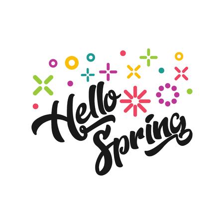 Hello spring emblem illustration