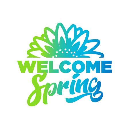 Welcome spring emblem illustration