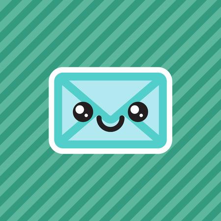 Cute smiling kawaii cartoon mail envelope icon