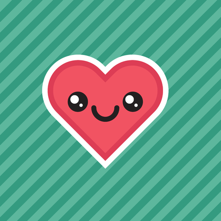 Cute kawaii smiling heart cartoon design icon
