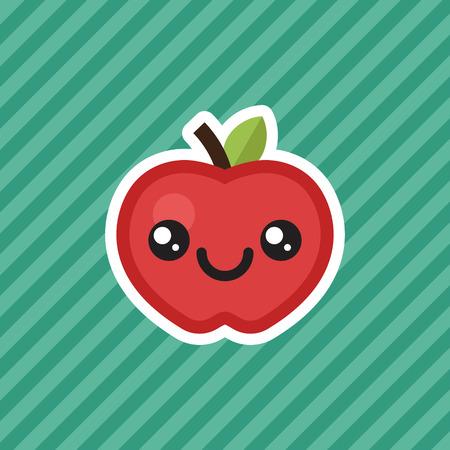 Cute kawaii smiling red apple cartoon design icon