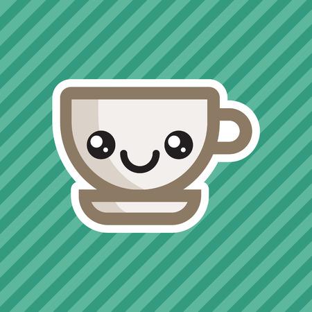 Cute kawaii smiling coffee cup cartoon icon Illustration