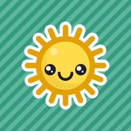 Cute kawaii smiling sun cartoon icon