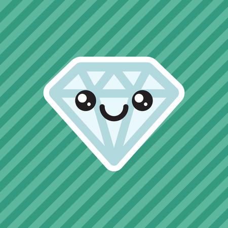 Cute kawaii smiling diamond cartoon icon Illustration