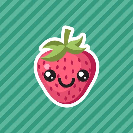 Cute kawaii smiling strawberry fruit cartoon icon
