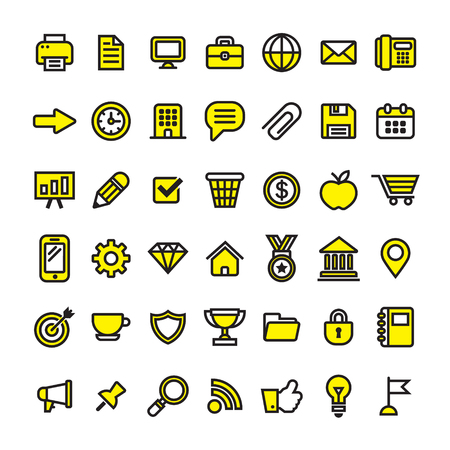 Office business and finance icons Stock Illustratie