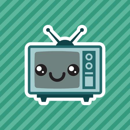 Cute kawaii smiling retro television cartoon icon