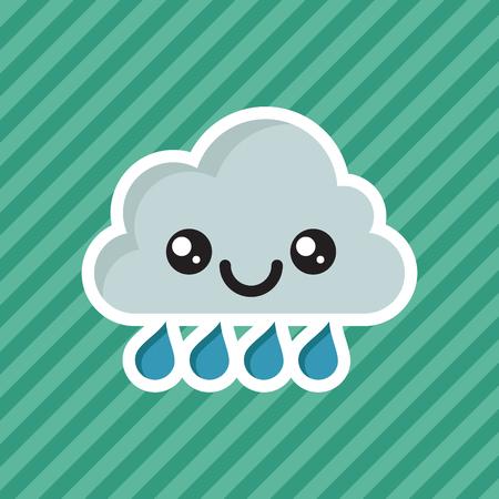 Cute smiling raining cloud cartoon icon.