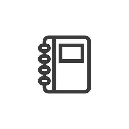 Simple outline notebook icon symbol