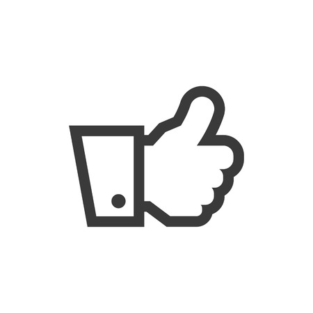 Simple outline hand thumbs up icon symbol illustration. Stock Illustratie