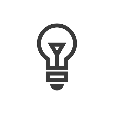 Simple outline light bulb icon symbol