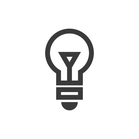 Simple outline light bulb icon symbol