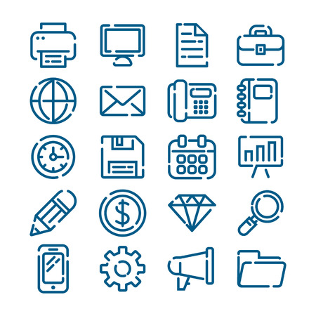 Office business and finance outline icons Vector illustration.