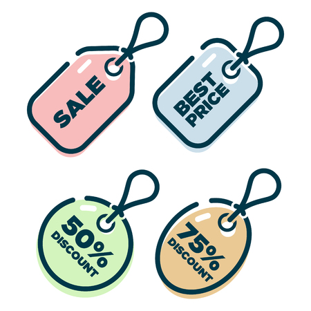 Price tag shopping icons Illustration
