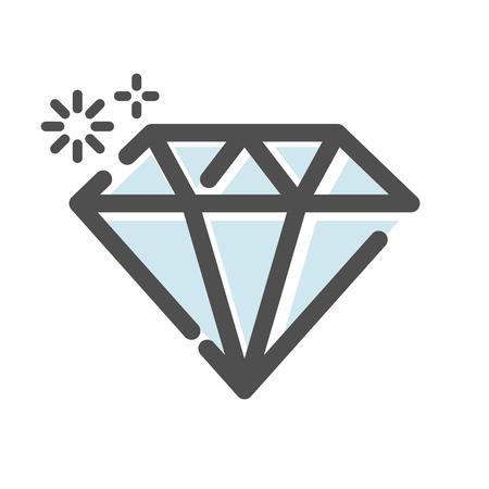 Diamond jewel symbol icon illustration on white background.