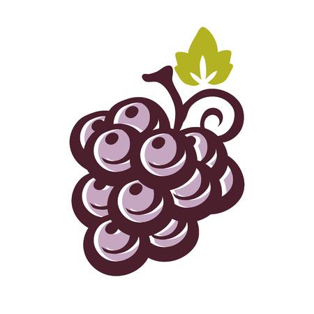 Icono de uva con hoja Foto de archivo - 95953155