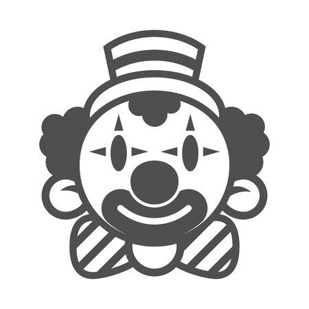 Happy clown head in monochrome illustration