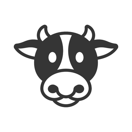 Cow animal head icon illustration on white background.