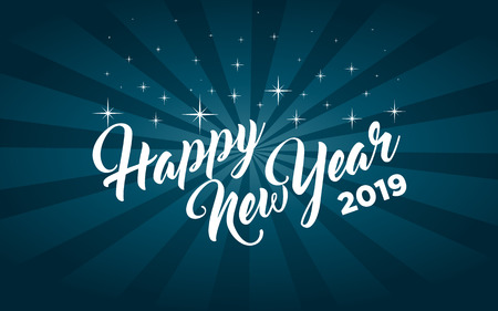 Happy new year 2019 greeting card Stock Illustratie