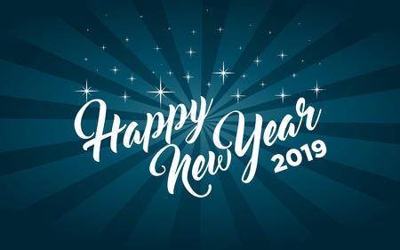 Happy new year 2019 greeting card Illustration