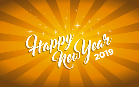 Happy new year 2019 gold greeting card