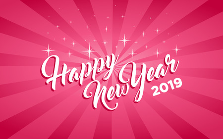 Happy new year 2019 pink greeting card Stock Illustratie