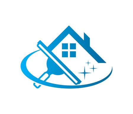 Escurridor de limpieza de lavado de ventanas con icono de techo de casa aislado en blanco