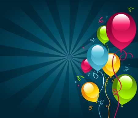 Happy Birthday Card with Party Balloons Illustration