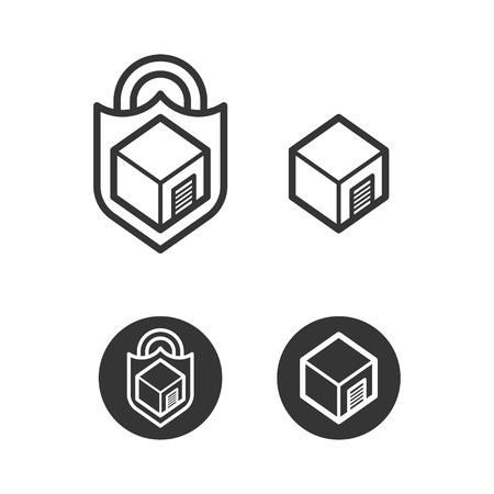 Self Storage Cube Logo Icons