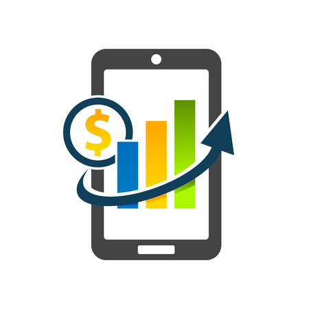 Mobile phone with dollar graph chart icon