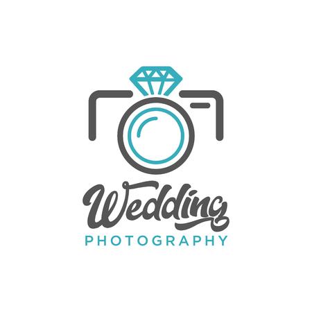 Wedding Photography Camera Diamond Logo Icon Illustration