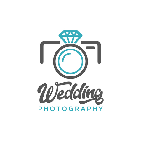Wedding Photography Camera Diamond Logo Icon 矢量图像