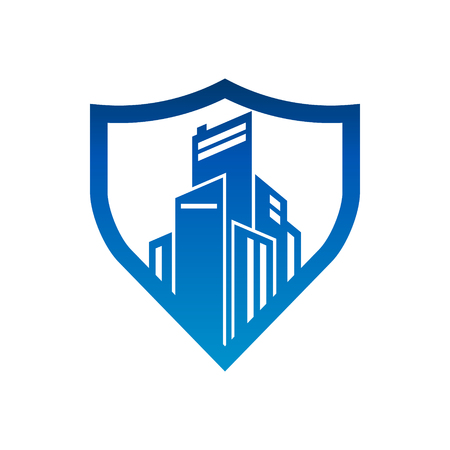 City Buildings Shield Security Logo Icon