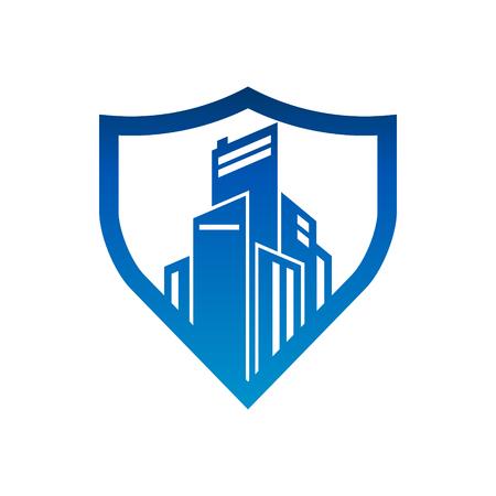 City Buildings Shield Security Logo Icon