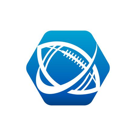 American football logo hexagon icon with swoosh design