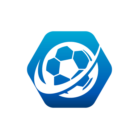 Soccer logo hexagon icon with swoosh design