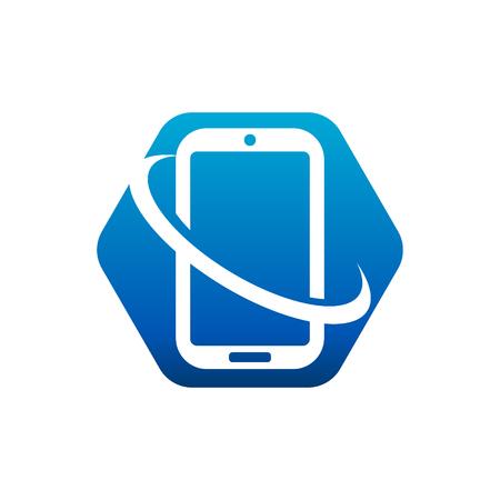 Swoosh Smart Mobile Phone Logo icon Illustration