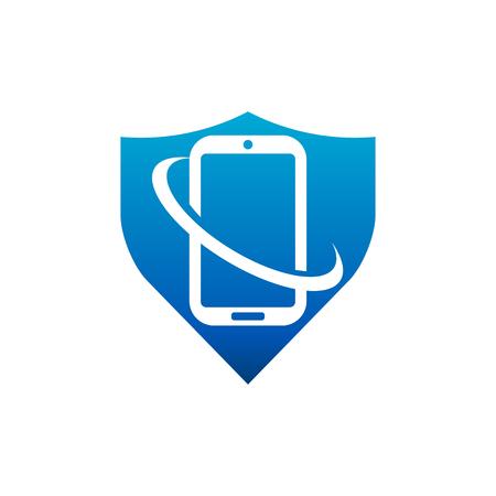 Swoosh Shield Smart Phone Logo icon