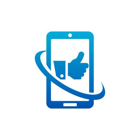 Swoosh Like Hand Smart Phone Logo icon