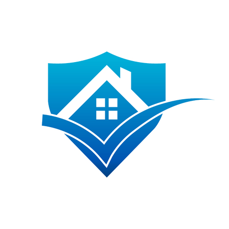 Real Estate House Roof Check Mark Shield Icon Stock Illustratie