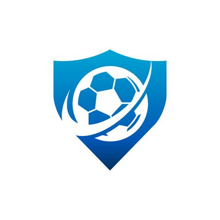 Swoosh Soccer Football Shield Logo Icon