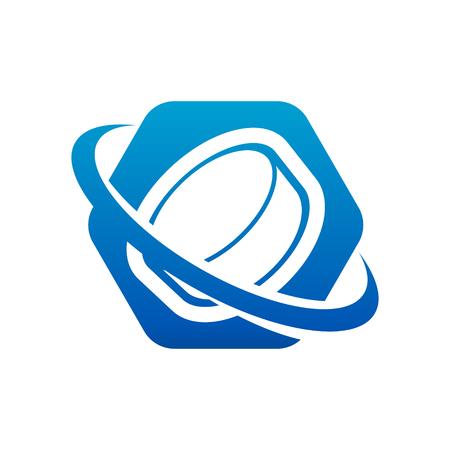 Swoosh Ice Hockey Puck Logo Icon Illustration