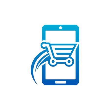 Fast Shopping Cart Smart Mobile Icon Illustration