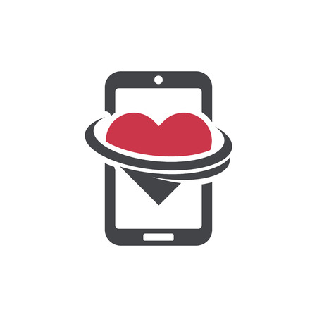 Swoosh Smart Phone Logo Heart dating icon