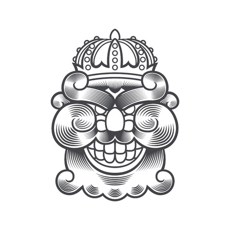 Mad Bearded Smiling King Head with Crown